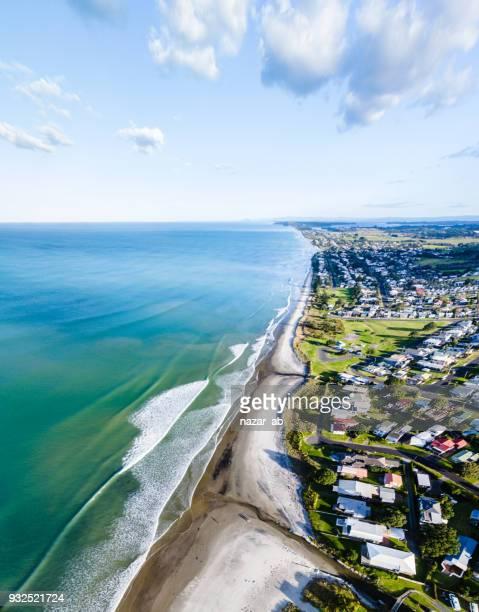 Overhead view of Waihi town and waihi beach, New Zealand.