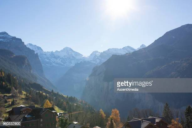 Overhead view of Wengen towards Lauterbrunnen in sunshine