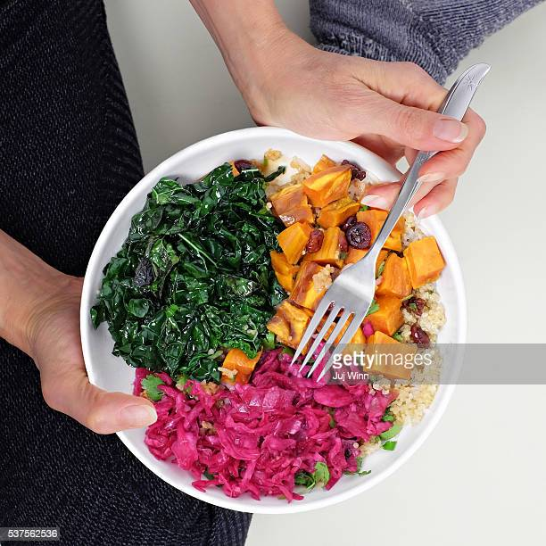 Overhead view of woman eating