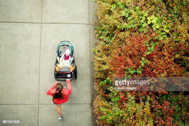 overhead view of woman running while holding baby stroller in park - pushchair stock pictures, royalty-free photos & images
