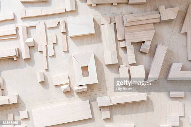 Overhead view of wooden architectural model