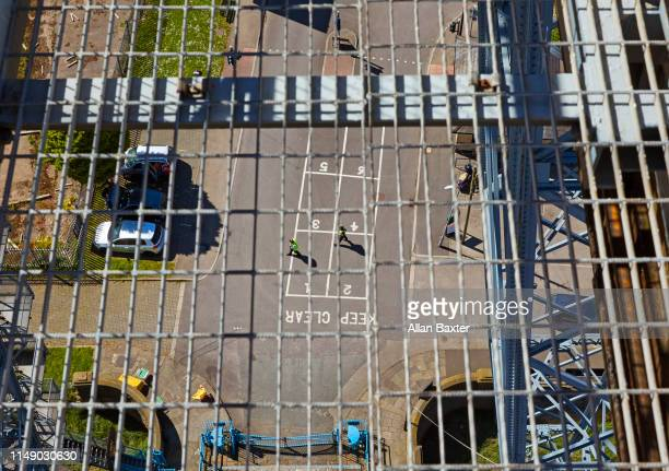 overhead view of workers from newport transporter bridge - newport wales photos stock pictures, royalty-free photos & images
