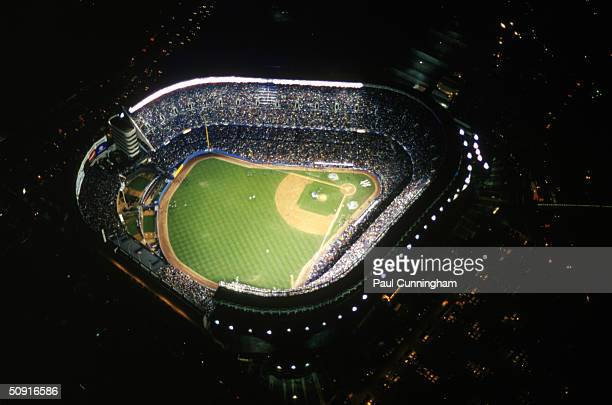 Overhead view of Yankee Stadium during Game Four of the 1999 World Series against the Atlanta Braves at Yankee Stadium on October 27 1999 in the...