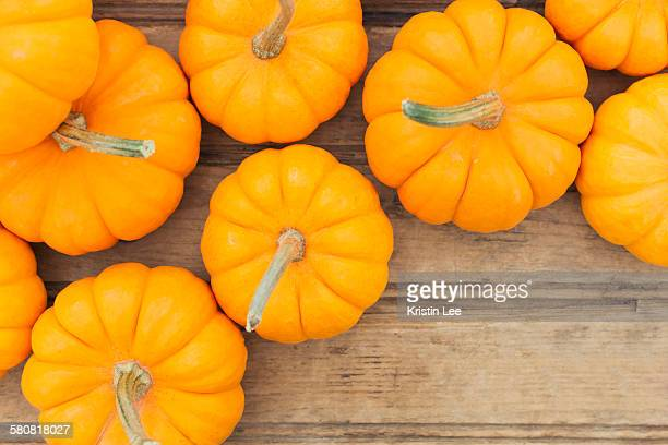 Overhead view of yellow pumpkins