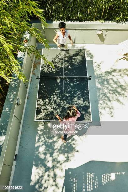 Overhead view of young girl and aunt playing table tennis in backyard