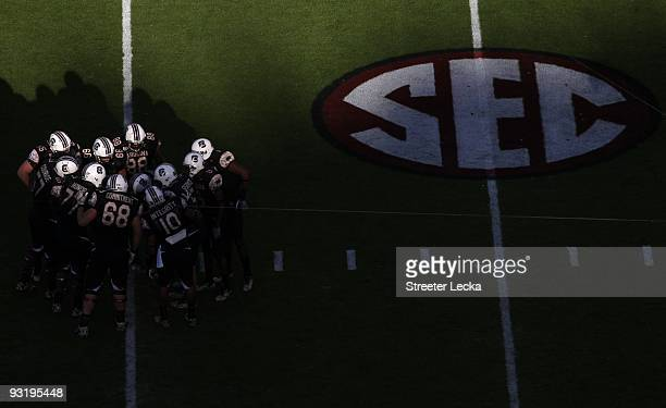 Overhead view with SEC logo as South Carolina Gamecocks players huddle during the game against the Florida Gators at Williams-Brice Stadium on...