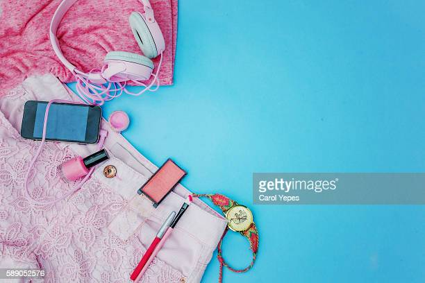 overhead view woman summer pink itmes