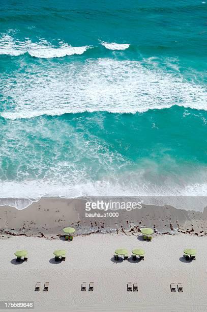 Overhead wide angle of the beach, Singer Island, Florida