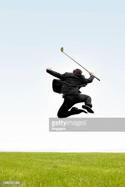 überglücklich business-golfer - golf lustig stock-fotos und bilder