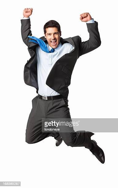 Überglücklich Geschäftsmann springen-isoliert