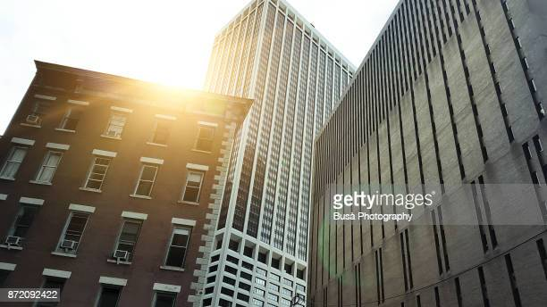 Overlapping buildings and contrast between old and new architectures in Lower Manhattan, New York City