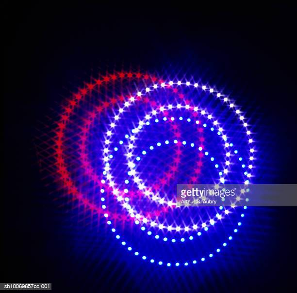 Overlapping double rings of lights, digitally generated