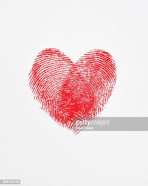 Overlapping fingerprints forming a heart shape