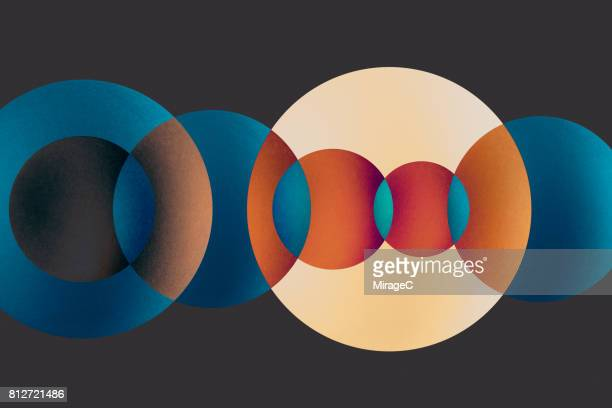 overlapping multi-colored circles - composite image stock photos and pictures