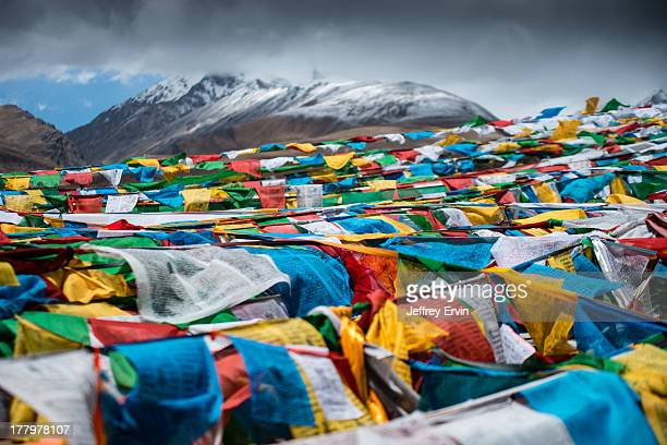 CONTENT] Overlapping Tibetan Prayer Flags on the edge of Namtso Lake in Damxung County Tibet The prayer flags blue white red green and yellow...
