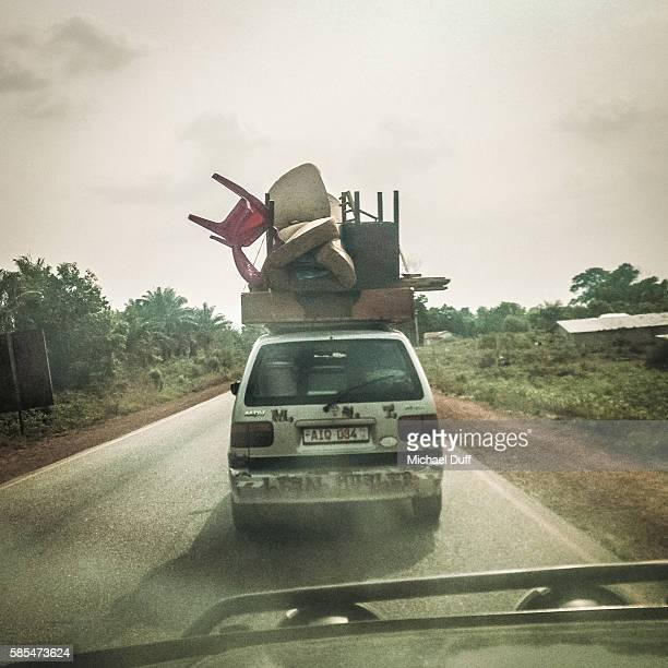 overloaded car in africa - over burdened stock pictures, royalty-free photos & images
