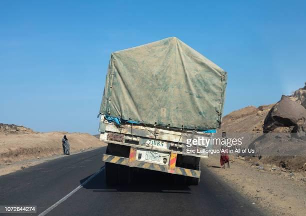 Overloaded truck coming from djibouti port, Afar region, Semera, Ethiopia on November 2, 2018 in Semera, Ethiopia.
