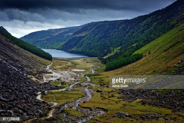 Overlook of Glendalough Valley along Gleneaolo Valley walk in Wicklow Mountains, Ireland