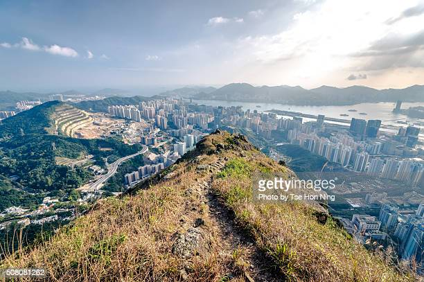 Overlook of Kowloon area in Hong Kong from Kowloon Peak Hilltop in daytime