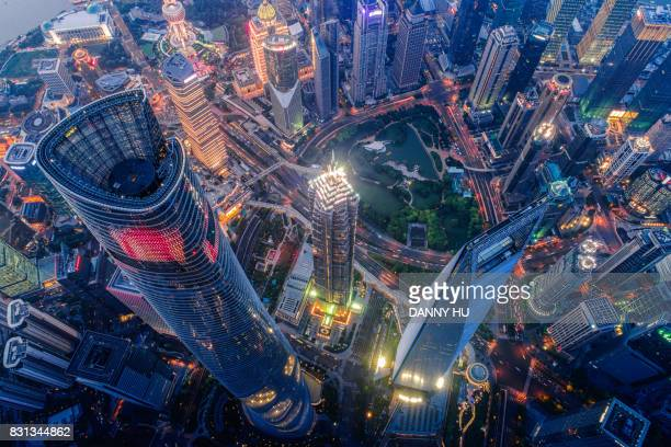 overlook of Shanghai lujiazui