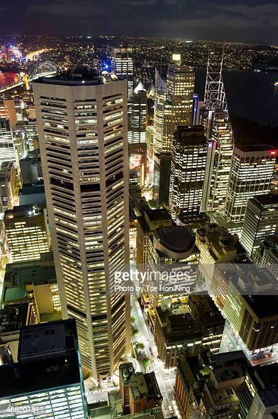 Overlook of Sydney city centre at night