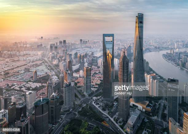 overlook of three skyscrapers in lujiazui district,shanghai - shanghai stock pictures, royalty-free photos & images
