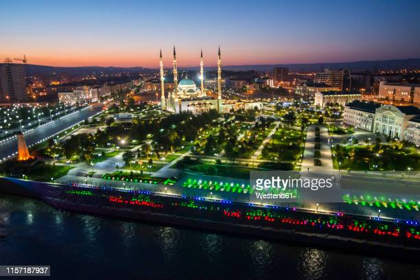 overlook over grozny at night, grozny, chechnya - chechnya stock pictures, royalty-free photos & images