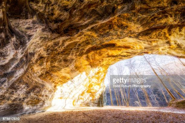 overlook - rock overhang stock photos and pictures