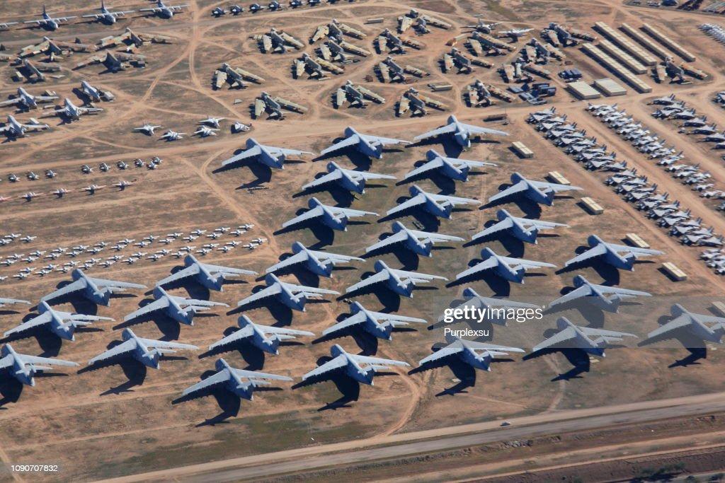 Overlook the aircraft boneyard, Davis-Monthan Air Force Base : Stock Photo