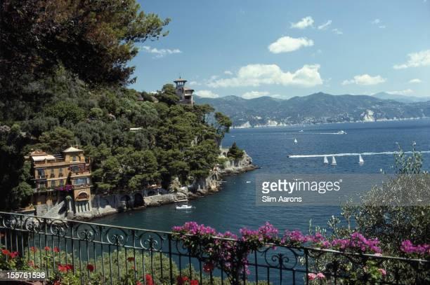 Overlooking Ardissones House on the water's edge in Portofino Italy 1977