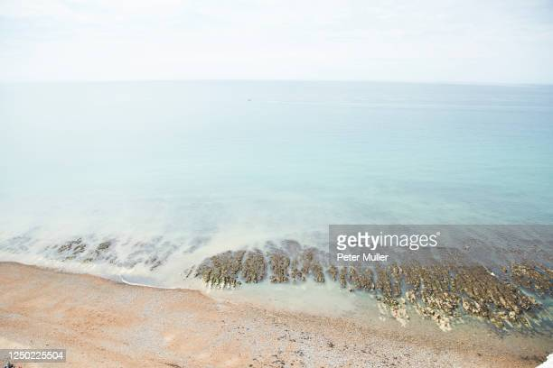 overlooking beach and sea - saltdean stock pictures, royalty-free photos & images