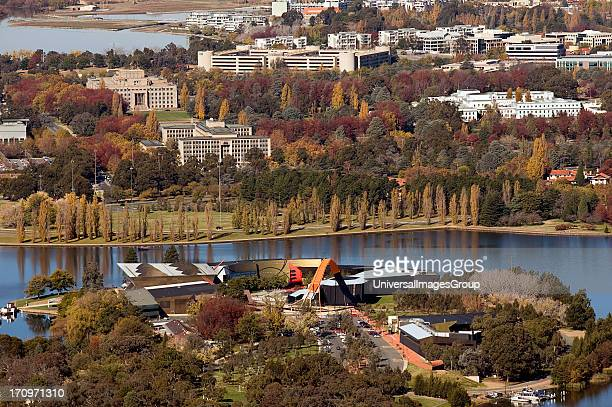 Overlooking Canberra and Lake Burley Griffin in Autumn Canberra Australian Capital Territory ACT Australia