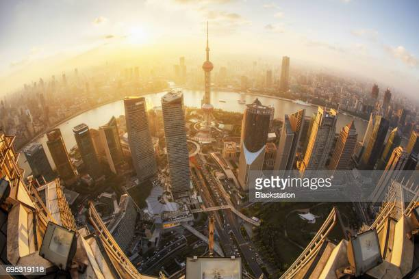 overlooking from the Jinmao Tower in Shanghai