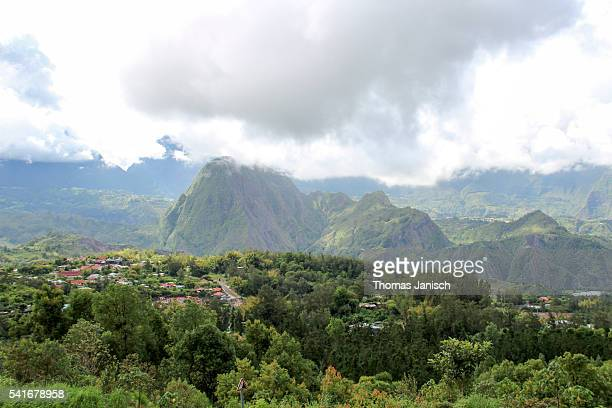 Overlooking Hell-Bourg and view on Piton d'Anchaing in the middle of Cirque de Salazie