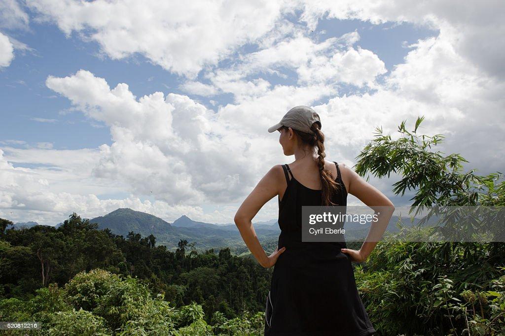 Overlooking Lao mountains : Stock Photo