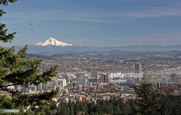 overlooking mt. hood and portland, oregon - portland oregon stock photos and pictures