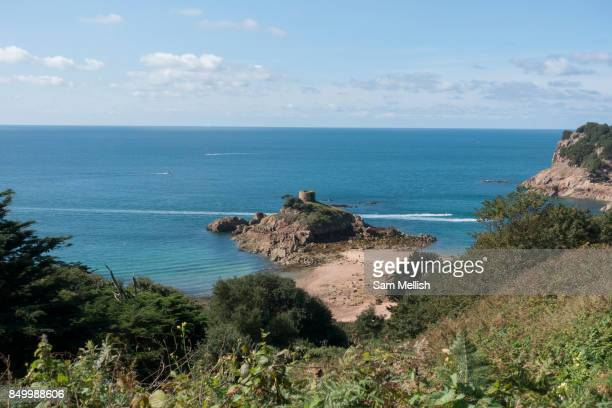 Overlooking Portelet Bay and Portelet Tower on 2nd September 2017 in Jersey on the Channel Islands United Kingdom Portelet Tower is a British...