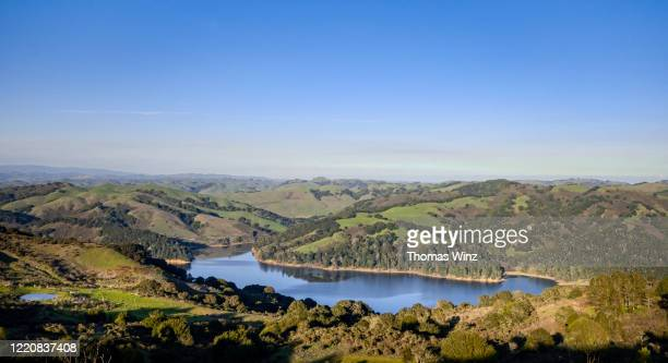 overlooking san pablo reservoir  with rolling hills - east bay regional park stock pictures, royalty-free photos & images