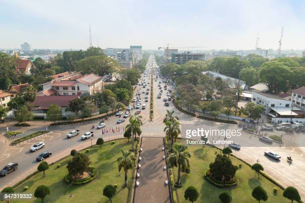 overlooking the city of vientiane - laotian culture stock pictures, royalty-free photos & images