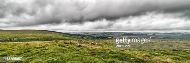 overlooking the dart valley from combestone - devon stock pictures, royalty-free photos & images