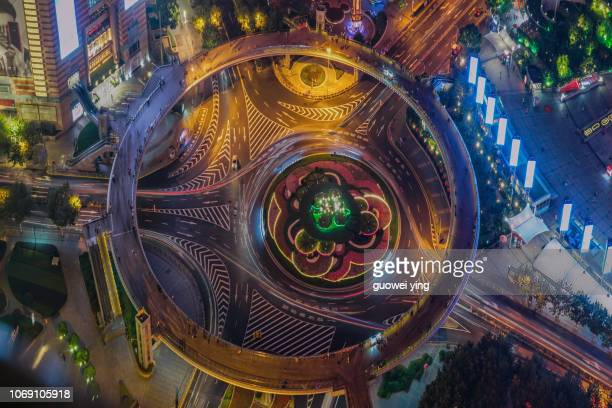 overlooking the lujiazui flyover disc - centre point stock photos and pictures