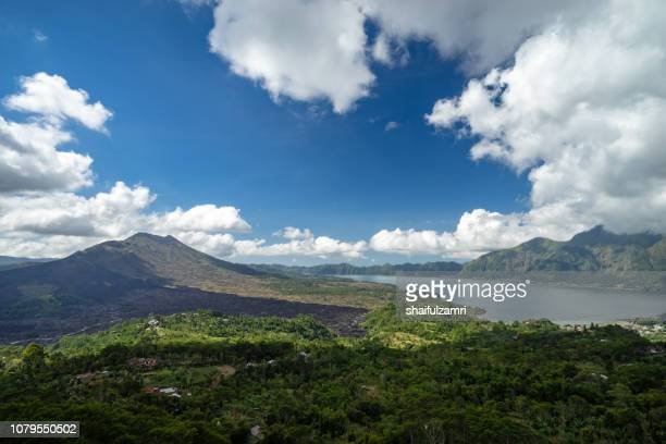 Overlooking the Mount Batur at Kintamani, one of popular tourist attraction on Bali island