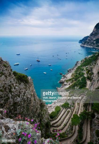 overlooking the via krupp on capri island, italy - capri stock pictures, royalty-free photos & images