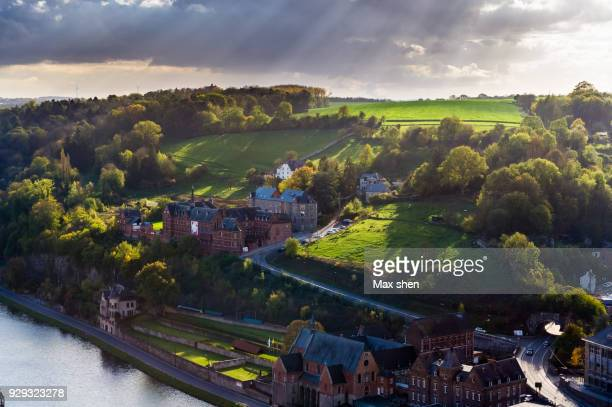 overlooking view of dinant, belgium. - ナミュール州 ストックフォトと画像