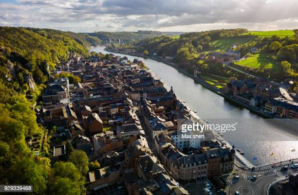 overlooking view of dinant, belgium. - belgië stockfoto's en -beelden
