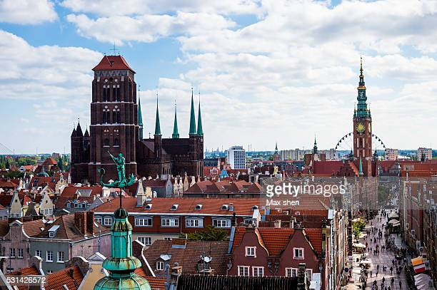 Overlooking view of Gdansk old town and Main City Hall