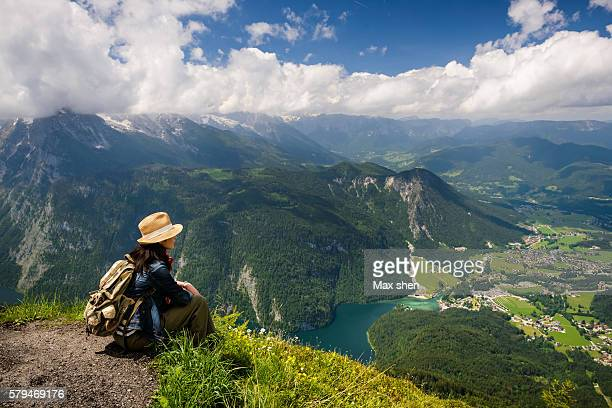overlooking view of the lake konigssee from jenner peak - berchtesgaden stock pictures, royalty-free photos & images