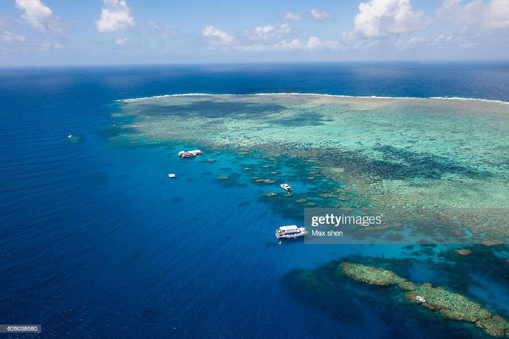 Overlooking view of the Norman reef in Great barrier Reef, Australia : Stock-Foto
