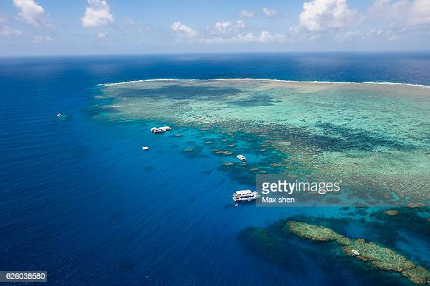 overlooking view of the norman reef in great barrier reef, australia - cairns stock photos and pictures