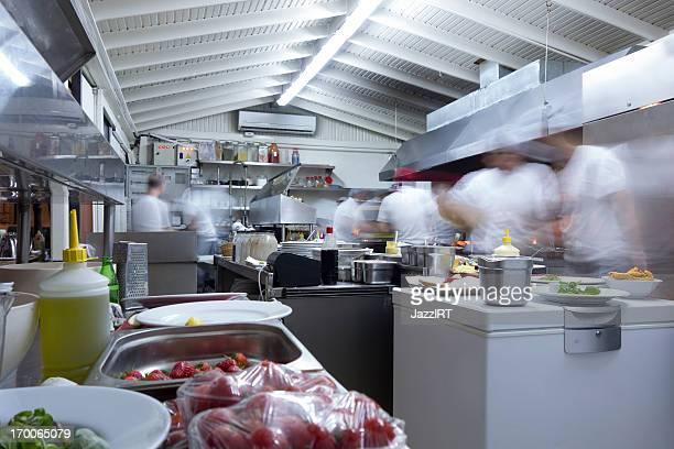 Overly busy restaurant kitchen